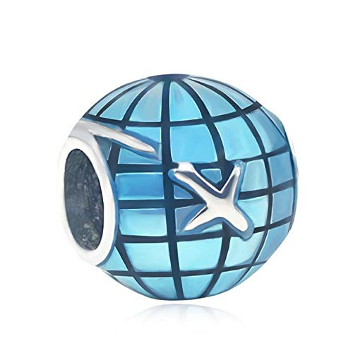 EVESCITY Adorable Many Style Sterling Silver Beads For Charm Bracelets Best Jewelry Gifts (Travel Around The World Plane Globe)