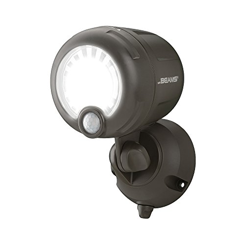 Mr. Beams Wireless Battery-Operated Outdoor Motion-Sensor-Activated LED Spotlight, Plastic, Brown, 200 lm