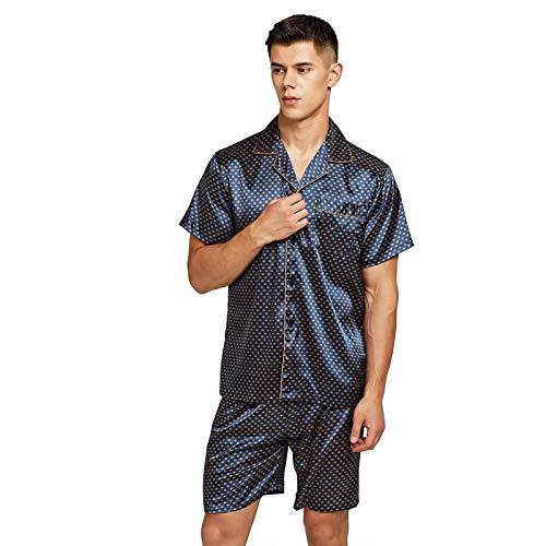 ZYZYY Pantalones Cortos de Pijama de Seda Satinada para Hombres Ropa de Dormir de Seda de rayón Conjunto de Pijama Masculino de Verano Camisón Suave para Hombres Pijamas-1_L