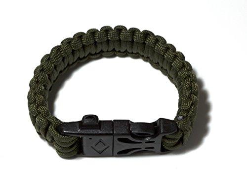 Pack von Zwei Überlebens-Armbänder Paracord Whistle Gear Schaber und Feuersteinstab Kits Outdoor (schwarz & Armee Grün) - 6