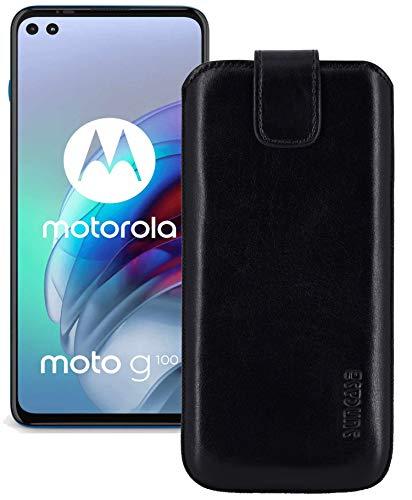 Suncase ECHT Ledertasche Leder Etui *Slim-Edition* kompatibel mit Motorola Moto G100 Hülle (mit Rückzugsfunktion & Magnetverschluss) in schwarz
