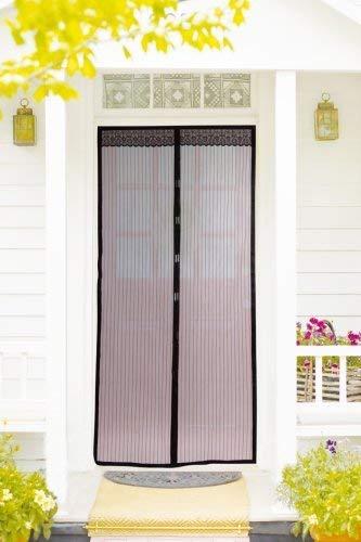EASYmaxx Cortina de puerta 90 x 210 cmMagic Click | Para proteger contra las moscas y otros insectos | Práctico cierre magnético, fácil montaje adhesivo [negra]