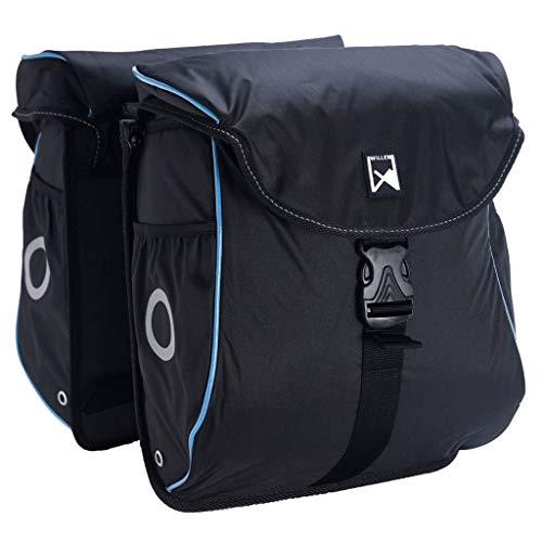Willex Fahrradtasche Packtasche Gepäckträgertasche Hinterradtasche Doppeltasche Fahrrad Tasche 24 L Schwarz Blau Wasserdicht Schultergurt Reflektor