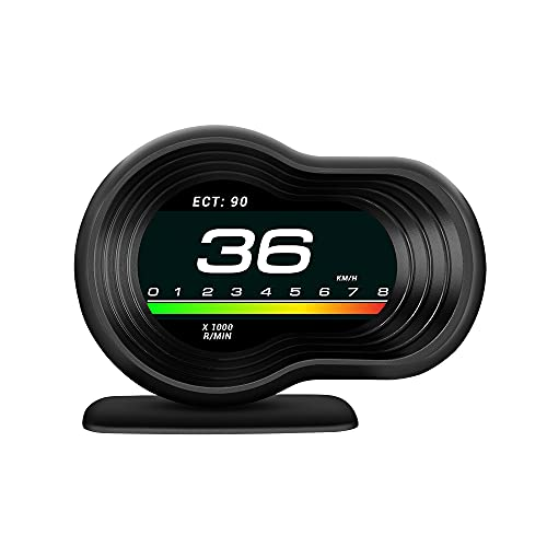 NMVB Coche HUD Head Up Display Pantalla automática OBD2 GPS Smart Car HUD Gauge Odómetro Digital Alarma de Seguridad Temperatura del Agua y Aceite RPM Velocímetro Advertencia de Exceso de Velocidad