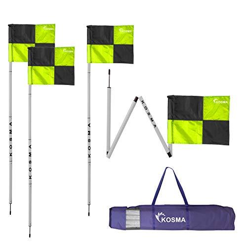 Kosma Eckflaggen-Set, faltbar, Fußball-Trainings-Eckfähnchen, Stangengröße: 1,5 m x 25 mm, mit Metallspieß & grün/schwarz Vierteltmuster Flaggen – in Tragetasche