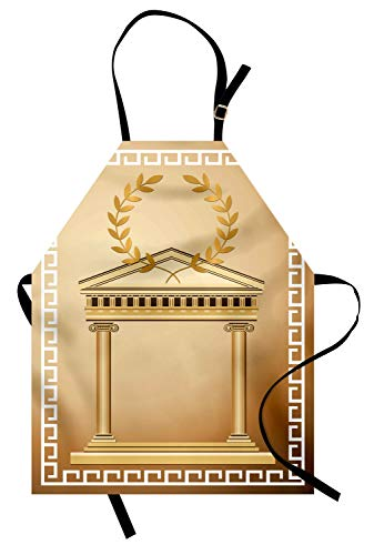 Ambesonne Retro Apron, Antique Building with Roman Olive Branch and Greek Architecture Motif, Unisex Kitchen Bib with Adjustable Neck for Cooking Gardening, Adult Size, Brown Coffee