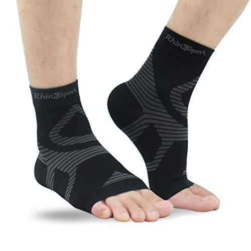 UONNER Sprunggelenk Bandage, Knöchelbandage, Fußbandage für Damen Herren Kompressionssocken Compression Socks Laufsocken für Sport Fitness (Schwarz, L(22cm-25cm))