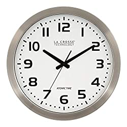 La Crosse Technology 16 Inch Stainless Steel Atomic Clock - White Dial 16 Metal Frame