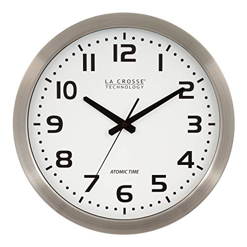 """La Crosse Technology 16 Inch Stainless Steel Atomic Clock - White Dial 16"""" Metal Frame"""