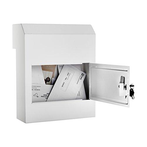AdirOffice Door Drop Box - Through-The-Door Safe Locking Drop Box - Door Mail Slot (White)