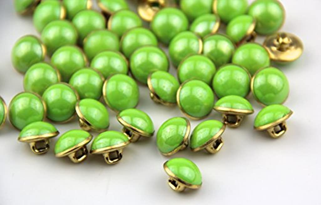 Pack of 25pcs 13mm Green Pearl Half Resin Dome Cap Copper Base Buttons for Crafting Sewing Scarpbooking Scarf and Clothes