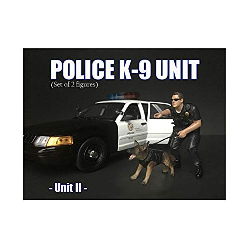 American Diorama Police Officer Figure with K9 Dog Unit II for 1/24 Scale Models