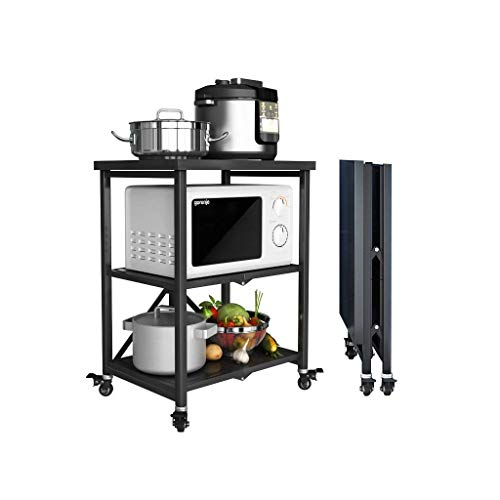 Best Buy! YGCBL Multifunction Portable Hand Trucks,3-Tier 304 Stainless Steel Rolling Cart Rack, Wil...