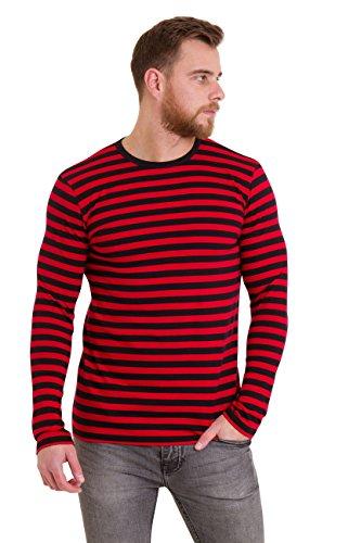 Run & Fly Mens 60's Retro Black & Red Striped Long Sleeve T Shirt Medium