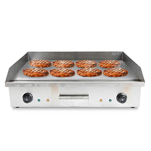 Aohuada Grillplatte elektrisch Elektrogrill Gastronomie Tischgrill Edelstahl Elektro Grillplatte(4400W, 72.7 x 40cm, 50-300°C, glatt, Gehäuse aus Edelstahl) Silber