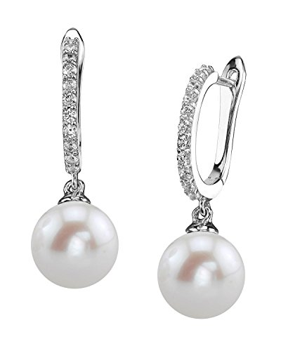 THE PEARL SOURCE 8-9mm Genuine White Freshwater Cultured Pearl Silver Zara Earrings for Women