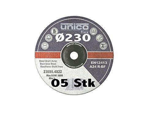 5 Stück Schruppscheibe Ø 230mm für Winkelschleifer T27 gekröpft Schleifmopteller