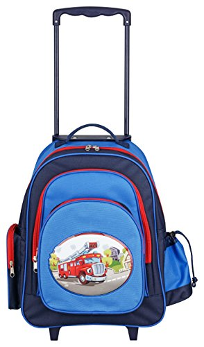Aminata Kids – Kinder-Reise-Trolley Feuerwehr-Motiv - Jungen Kinder-Reise-Koffer in Handgepäck Größe 45x43x19-cm, mit 2 Rollen, höhenverstellbarer Griff, 5 Fächer, Reißverschluss, blau, rot