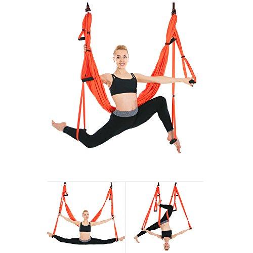 Juego de hamaca de yoga para ejercicios de inversión de yoga antigravedad, naranja