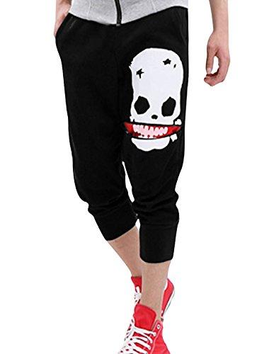 Sourcingmap Homme Motif Crâne Confort Sports Shorts Pantalon Tondu Noir 30