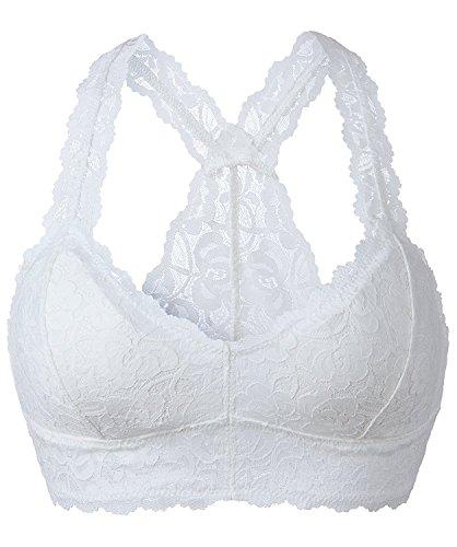 YIANNA Mujer Bralette Encaje Blanco con Relleno Extraíble Transpirable Top Sujetador Encaje sin Aros Floral Lace Bra, UK-YA8332-White-L