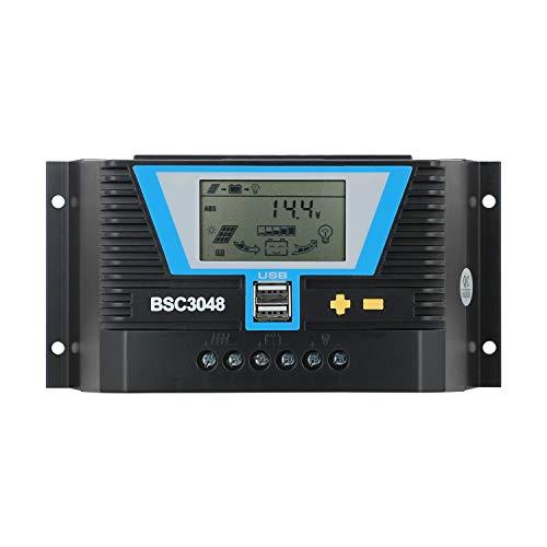 30amp Charge Controller, PWM Solar Controller 30A Fit for MAX 1500W Solar Power 12V 24V 36V 48V Lithium AGM Gel Flooded Battery