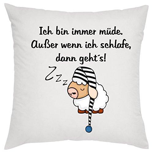 crealuxe Ich Bin Immer moe - behalve als ik slaap dan gaat, sierkussens, sofakussens, bedrukt kussen, katoenen kussen