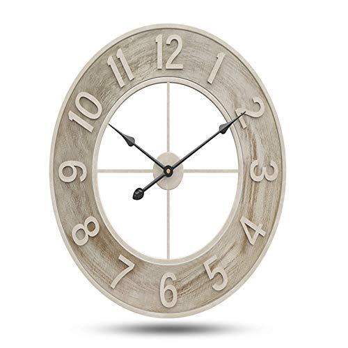 PIVFEDQX 60 Cm De Madera De Estilo Nórdico Sala De Estar Reloj De Estudio Reloj Silencioso Creativo Reloj De Pared De Hierro para Sala De Estar Cocina Dormitorios Oficina Cafetería Bar