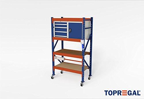 In hoogte verstelbare werkbank verrijdbaar werkplaatswagen trolley H214xB120xT60 met rolhouder incl. multiplexplaat & houten vloer