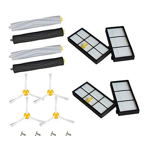 Kit de accesorios de repuesto para Irobot Roomba serie 800 900 805 860 890 870 871 880 890 960 980 4 cepillos principales, 4 cepillos laterales, 4 filtros y 4 tornillos.