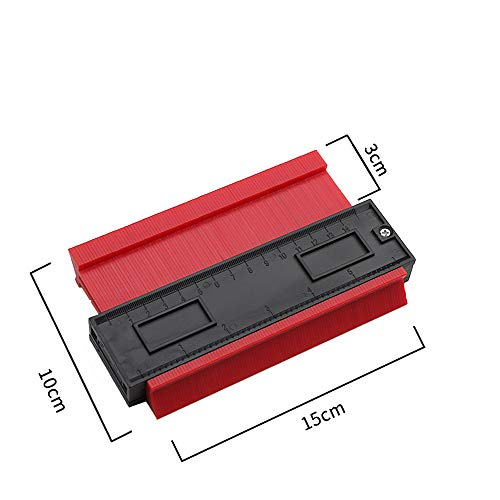Konturlehre Profillehre Konturmesser Kontur Duplikator Konturmessgerät Kunststoff-Messlineal für präzise Messungen Fliesenlaminat Unregelmäßiges Konturkopierwerkzeug Messmarkierungswerkzeuge (rot)