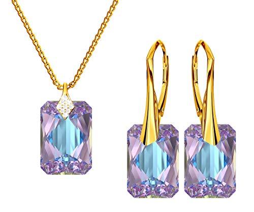 *Beforya Paris* Novedad Smeralda *Vitrail Light* - Plata 925 / Chapado en oro de 24 K - Joyas con cristales de Swarovski Elements - Pendientes y collar con caja de regalo