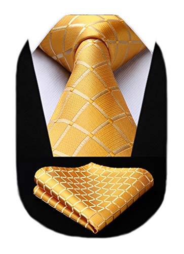 HISDERN corbata cl¨¢sica a cuadros de hombre pa?uelo conjunto de corbata formal&Informal...