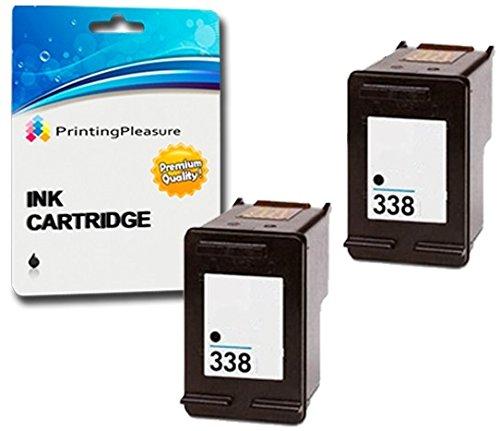Printing Pleasure 2 SCHWARZ Druckerpatronen für HP OfficeJet 100 150 Mobile 6210 7310 H470 K7100 PSC 1610 2355 DeskJet 460 460c 5740 Photosmart 2610 8150 C3180   kompatibel zu HP 338 (C8765EE)