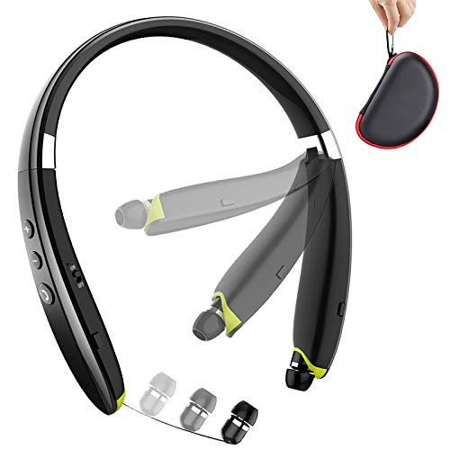Bluetooth Headphones, BEARTWO Upgraded Foldable Wireless Neckband Headset with Retractable Earbuds,...