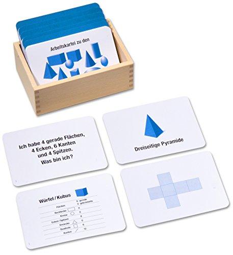 Arbeitskartei zu den Geometrischen Körpern und Formen, Montessori Freiarbeit, 100 Aufgabenkarten in Lernkartei mit Selbstkontrolle