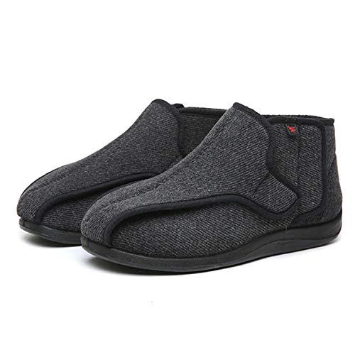 B/H Zapato de Velcro Zapato de Salud cómodo,Zapatos de Invierno de Tela con Velcro,Zapatos Ajustables ensanchados para pie diabético-Negro_44,Pantuflas Pacientes diabéticos
