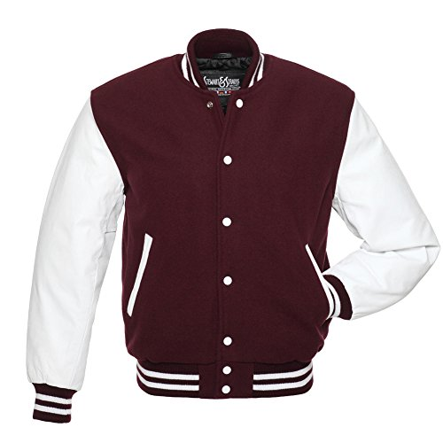 Varsity Letterman Jacket Maroon Wool & White Leather,C108-M