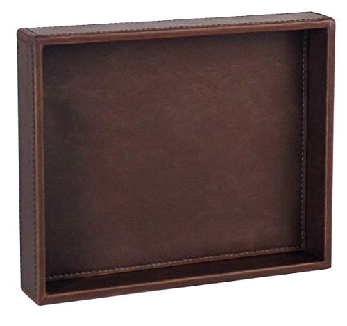 PU Leather Valet Tray Organizer,Catchall Tray Decorative Desktop Storage Organizer Tray for Change, Coin,Key,Phone,Glasses (Brown)