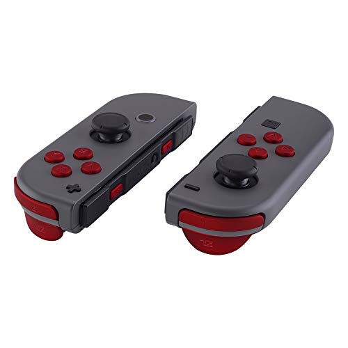 eXtremeRate Red Soft Touch Replacement ABXY Direction Keys SR SL L R ZR ZL Trigger Buttons Springs, Full Set Buttons Repair Kits with Tools for Nintendo Switch Joy-Con JoyCon Shell NOT Included