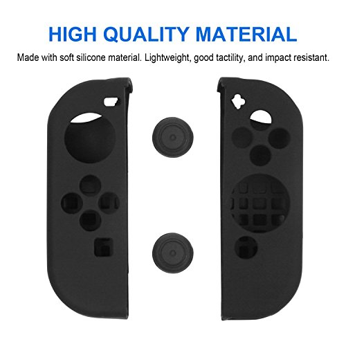 Joy-Con Gel Guards with Thumb Grips Caps for Nintendo Switch (Black)