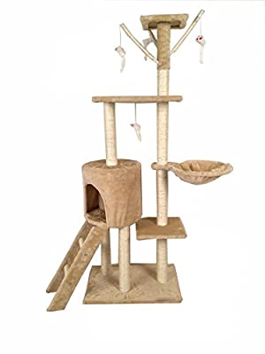 Cat Tree Scratching Post Scratch Activity Center Scratcher Pole Bed Toys 8001 (Beige with Paws)