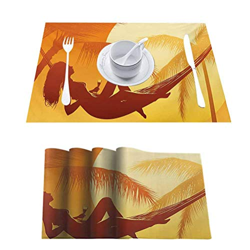 L'sWOW Table Mats Washable Non-Slip Heat Resistant, Beach Silhouette of Sexy Woman Lying in a Hammock at Majestic Sunset View Dream Print, Placemats Washable Easy to Clean, Set of 4