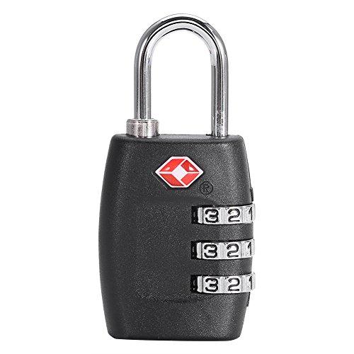 OKBY Bloqueo de contraseña de Equipaje - 4 Colores Moda Maleta de Viaje Maleta Bolsa Combinación de dígitos Código de contraseña Candado de Bloqueo(Negro)