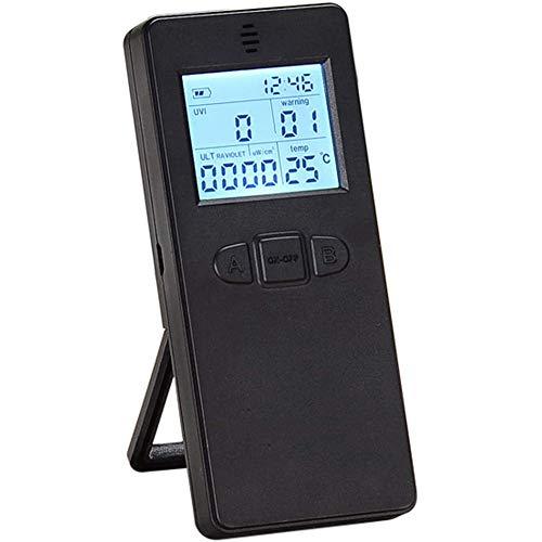 Radiometer, détecteur Portable de rayonnement Ultraviolet UV numérique UV UVI mètre Radiometer testeur avec Le Temps et Affichage de la température,Noir