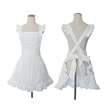 Cute White Retro Lady's Aprons for Women's Kitchen Cooking Cleaning Maid Costume with Pockets ¡