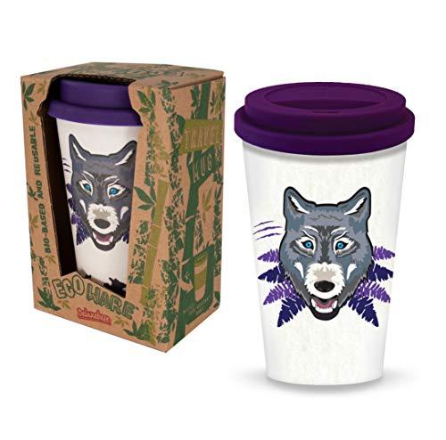 Ecoware Taza de Viaje Reutilizable - Lobo de Deluxebase. Taza de café ecológica con estampado animal de 400 ml. Taza para bebidas calientes como té y café hecha de bambú y materiales biológicos