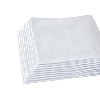 Men s Handkerchiefs,100% Soft Cotton,White Hankie Pack of 12 Pieces