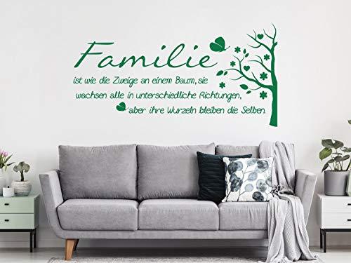 GRAZDesign Familie ist wie EIN Baum Bild/Schild Wandtattoo - Familienspruch als Wandaufkleber - Wanddeko modern / 78x40cm / 049 königsblau
