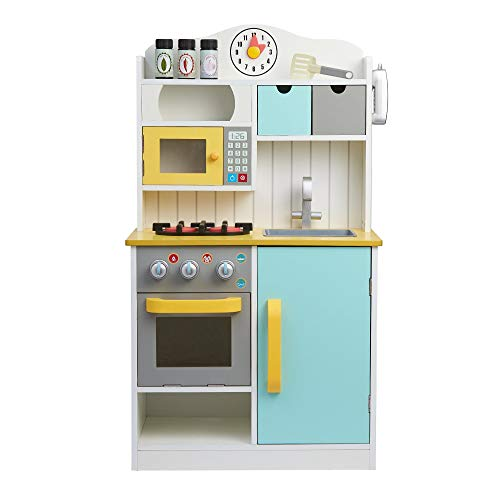 Teamson Kids Florence Wooden Kitchen For Kids Toy Kitchen With 5 Role Play Accessories UK-TD-11708AR